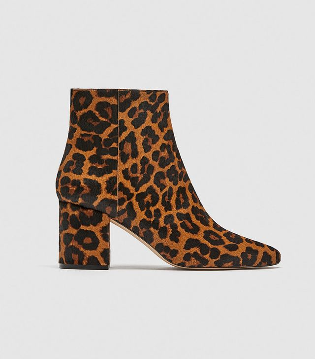 Zara Animal Print Ankle Boots