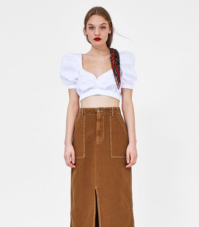 Zara Cropped Top With Gathered Details