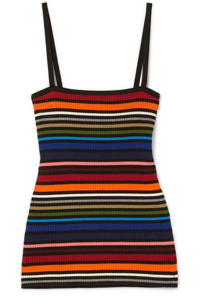 Striped Ribbed Cotton-blend Camisole
