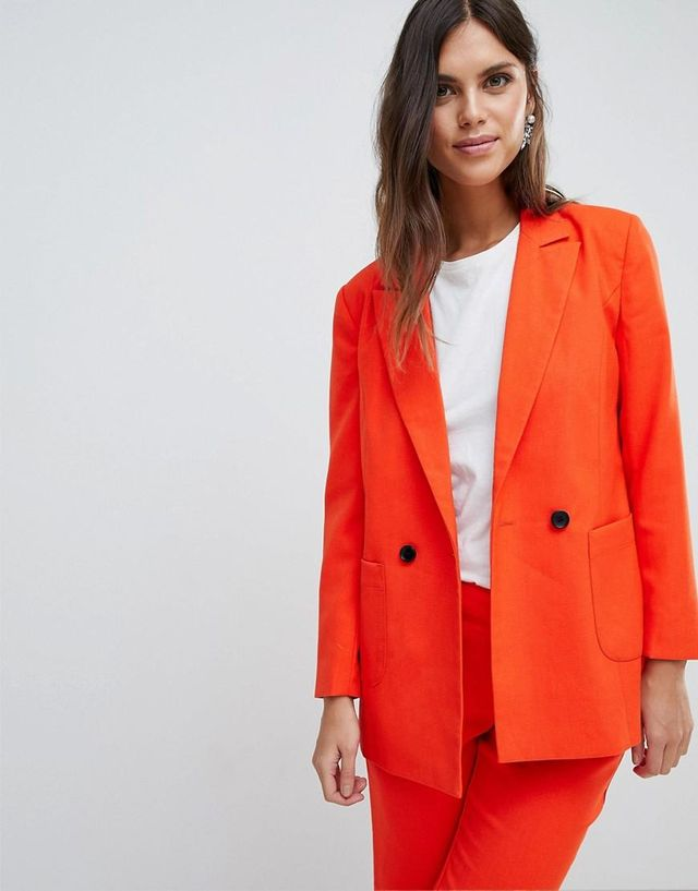 Colored Tailored Blazer Two-Piece