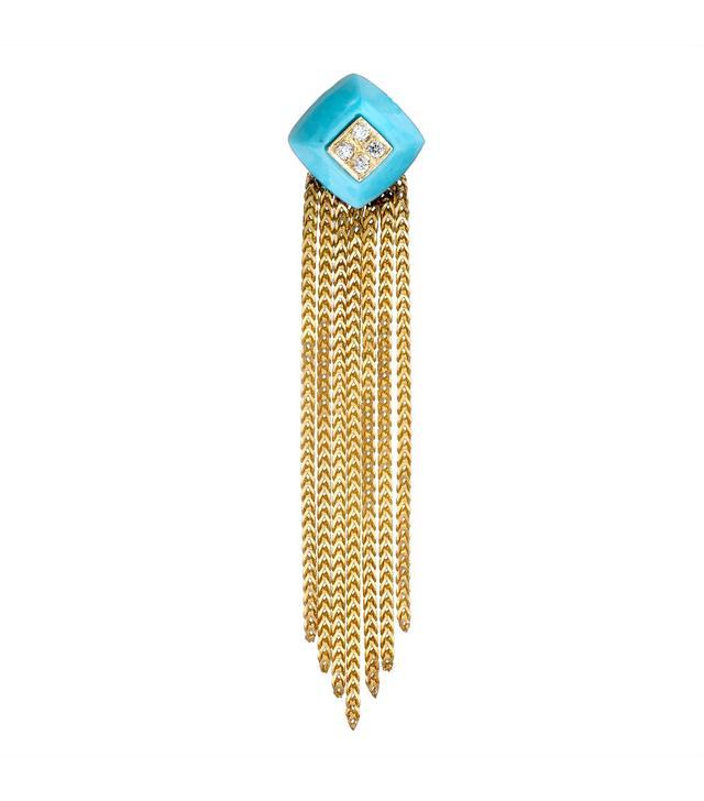 The Last Line Diamond and Turquoise Pyramid Fringe Drop Earrings