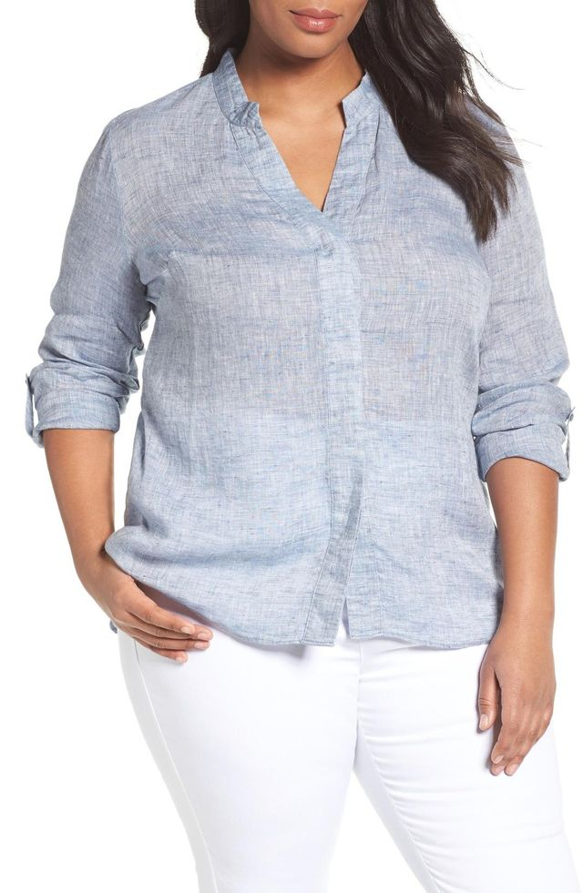Plus Size Women's Nic+Zoe Drifty Woven Linen Shirt