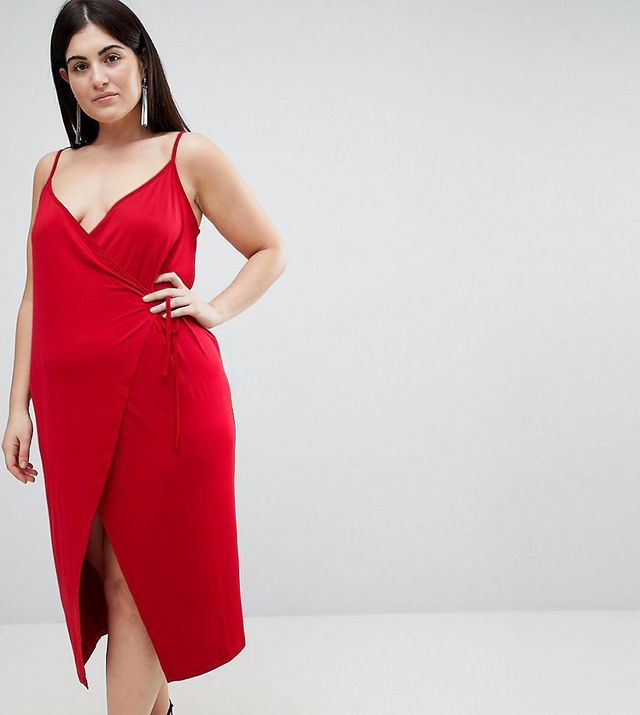 ASOS CURVE Sexy Wrap Midi Bodycon Dress