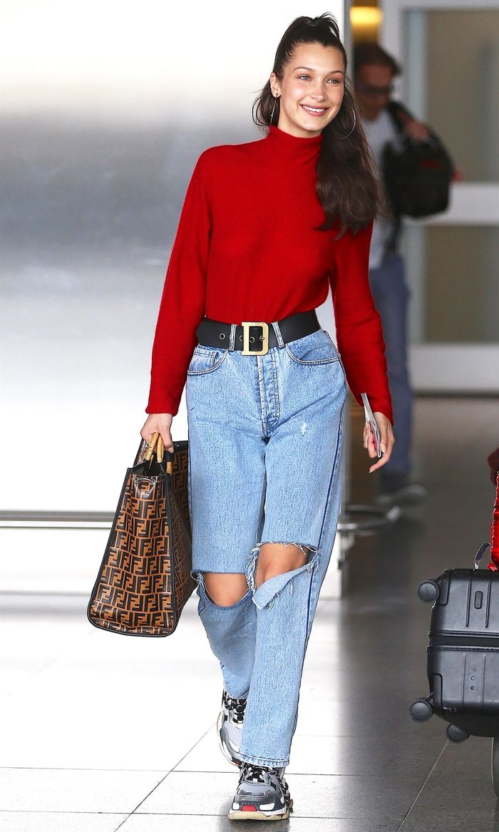 9f87c52aca2 Bella Hadid Wore the Coolest Airport Jeans