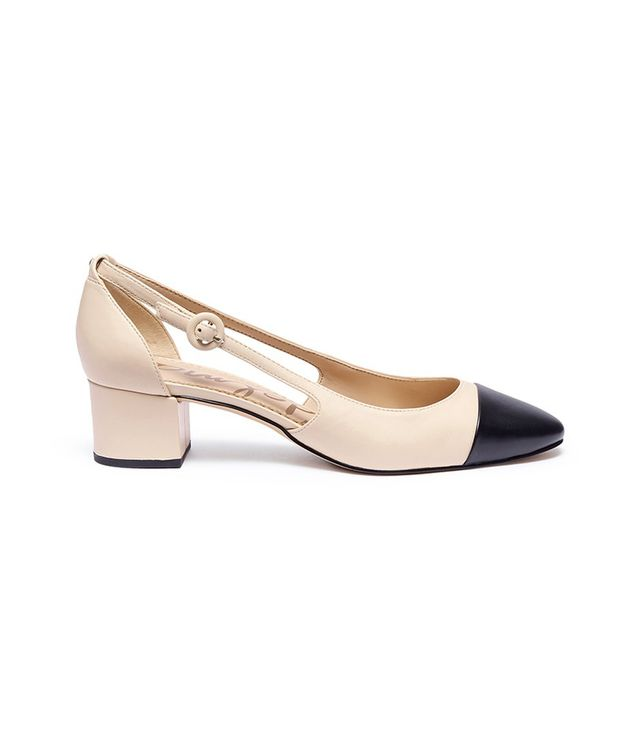 Sam Edelman Leah Toe Cap Cutout Leather Pumps