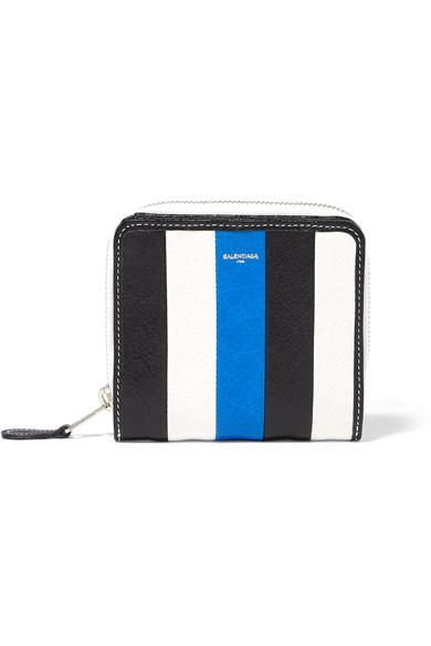 Bazar Striped Textured-leather Wallet