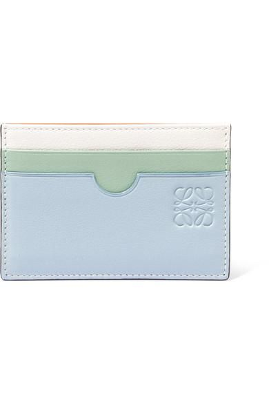 Paula's Ibiza Color-block Textured-leather Cardholder
