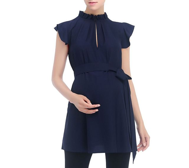 Kimi and Kai Karlena Flutter Sleeve Belted Maternity Top