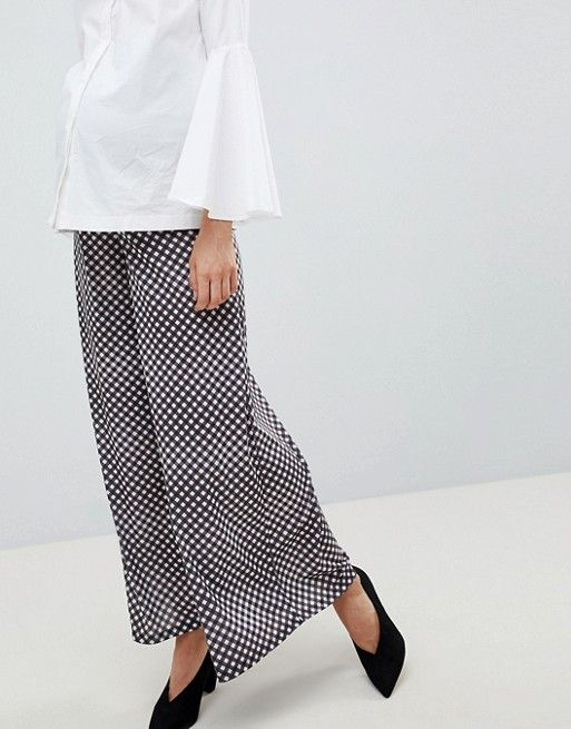ASOS Maternity Over the Bump Wide Leg Pants in Gingham Print