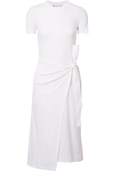 Draped Canvas-Trimmed Cotton-Jersey Tunic