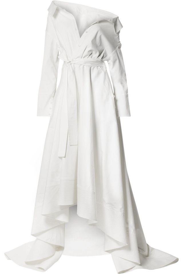 Lou Off-the-Shoulder Cotton-Blend Poplin Gown