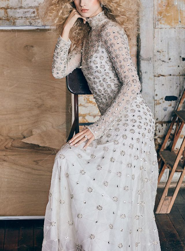 M'O Exclusive Long Crossbone Lattice Gown