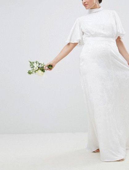 ASOS Curve Wedding Dress in Soft Jacquard