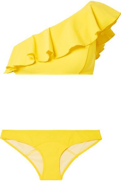 Arden One-Shoulder Stretch-Crepe Bikini Top