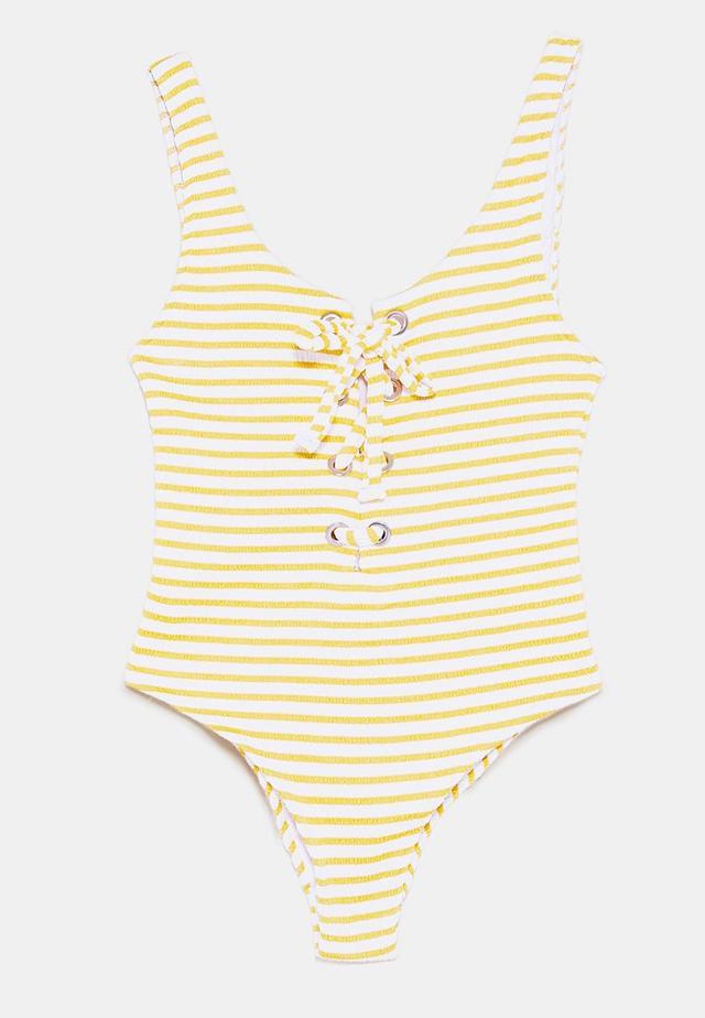 Zara Striped Lace Up Swimsuit