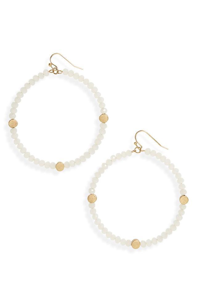 Large Glass Bead Hoop Earrings