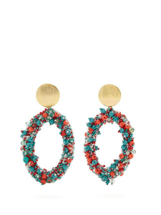 Bead-embellished hoop-drop earrings