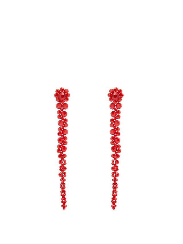 Beaded-tassel drop earrings