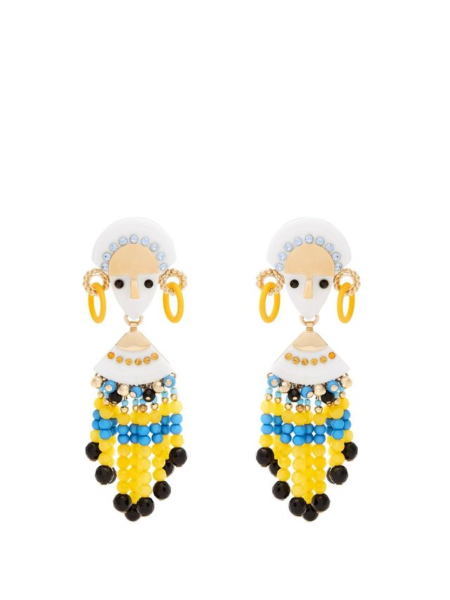 Bead and crystal-embellished drop earrings