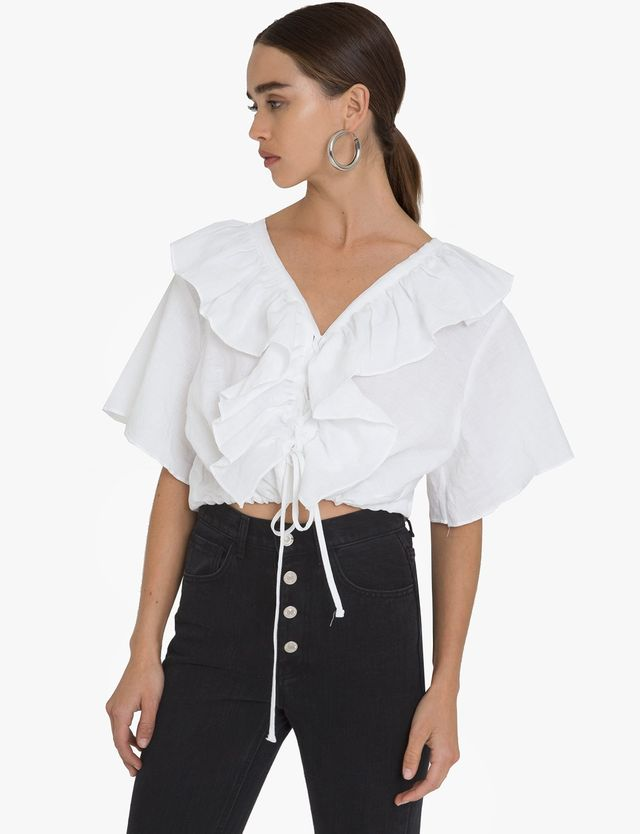 Pixie Market Linen Frill Lace-Up Tie Top
