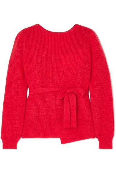 Alexa Chung Open-Back Mohair Wrap Sweater