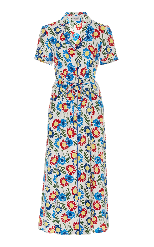 HVN Maria Floral-Print Silk Crepe De Chine Dress