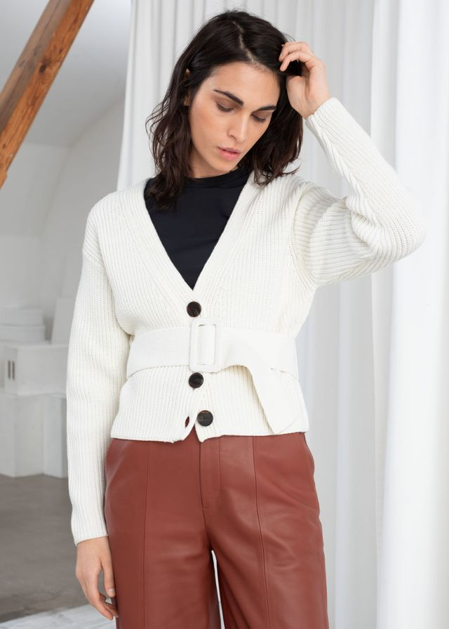 & Other Stories Belted V-Neck Cotton Cardigan