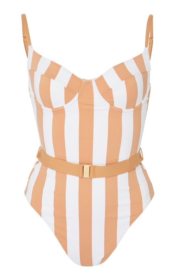 + WeWoreWhat Danielle Belted Striped Swimsuit
