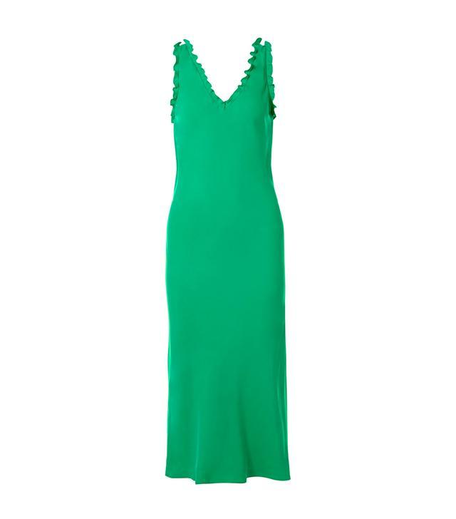 Ruffle-trimmed Washed-satin Midi Dress