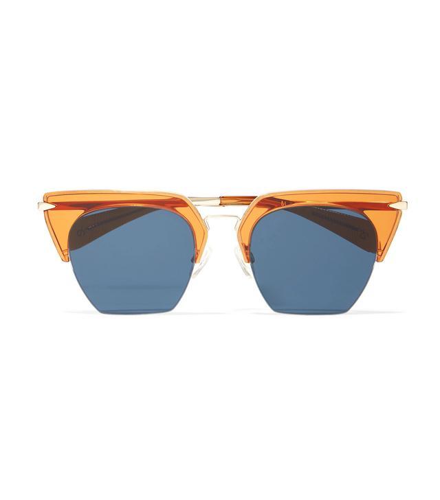 Cat-eye Acetate And Gold-tone Sunglasses