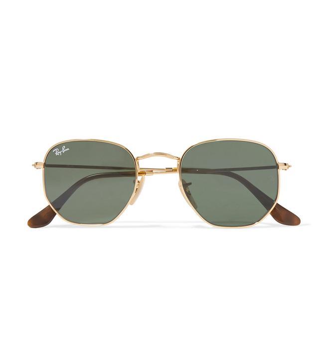 Hexagon-frame Gold-tone Sunglasses