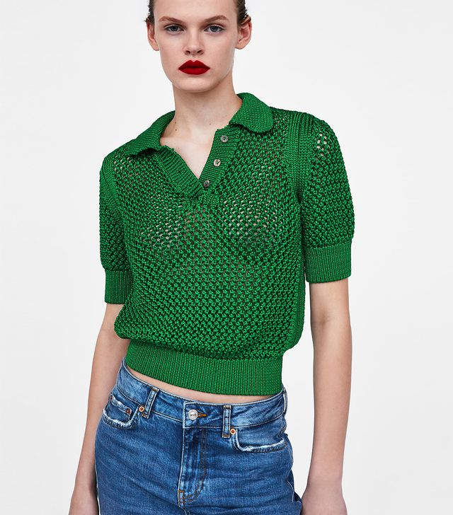 Zara Open Knit Polo Shirt