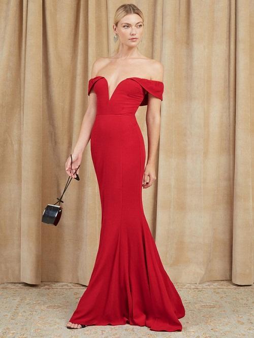 Red Off-the-Shoulder Wedding Dress
