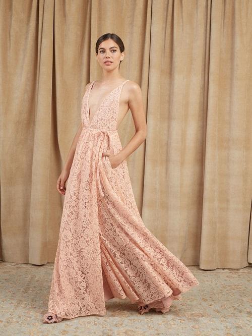 Blush Pink Lace Wedding Dress