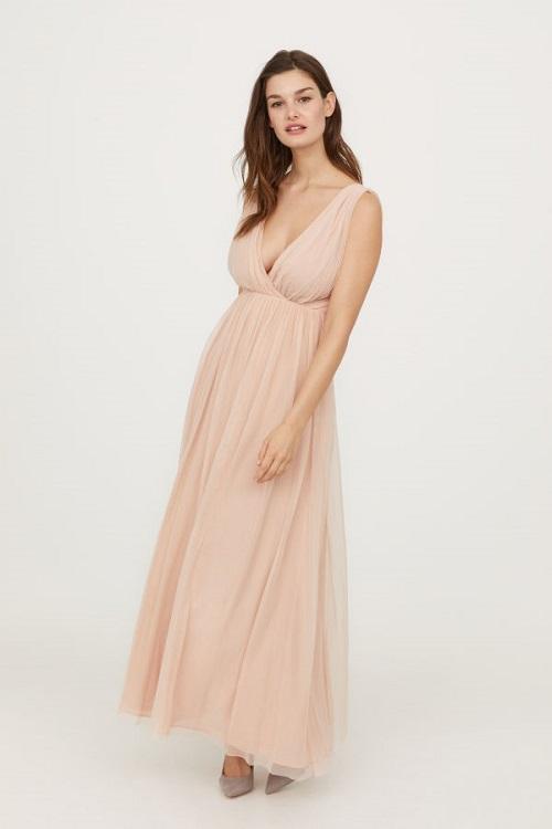 Long Mesh Blush Pink Wedding Dress