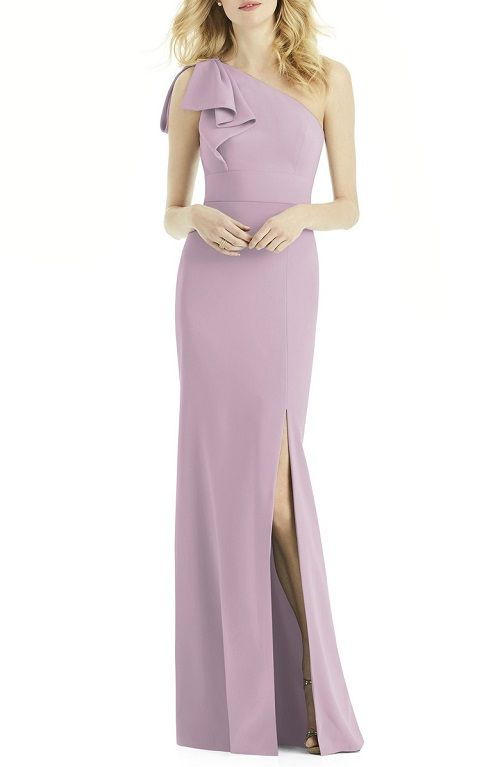 Bow One-Shoulder Lilac Colored Gown