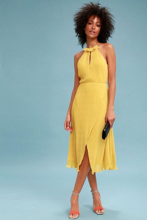 Golden Yellow Pleated Wedding Dress
