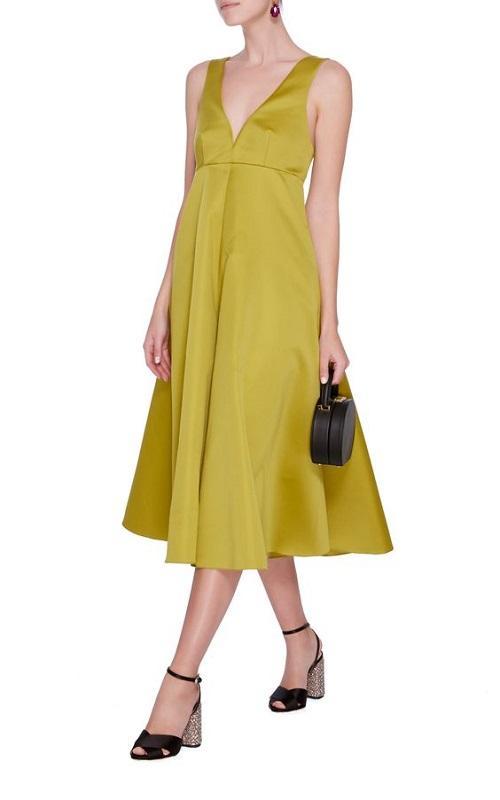 Satin Yellow Midi Wedding Dress