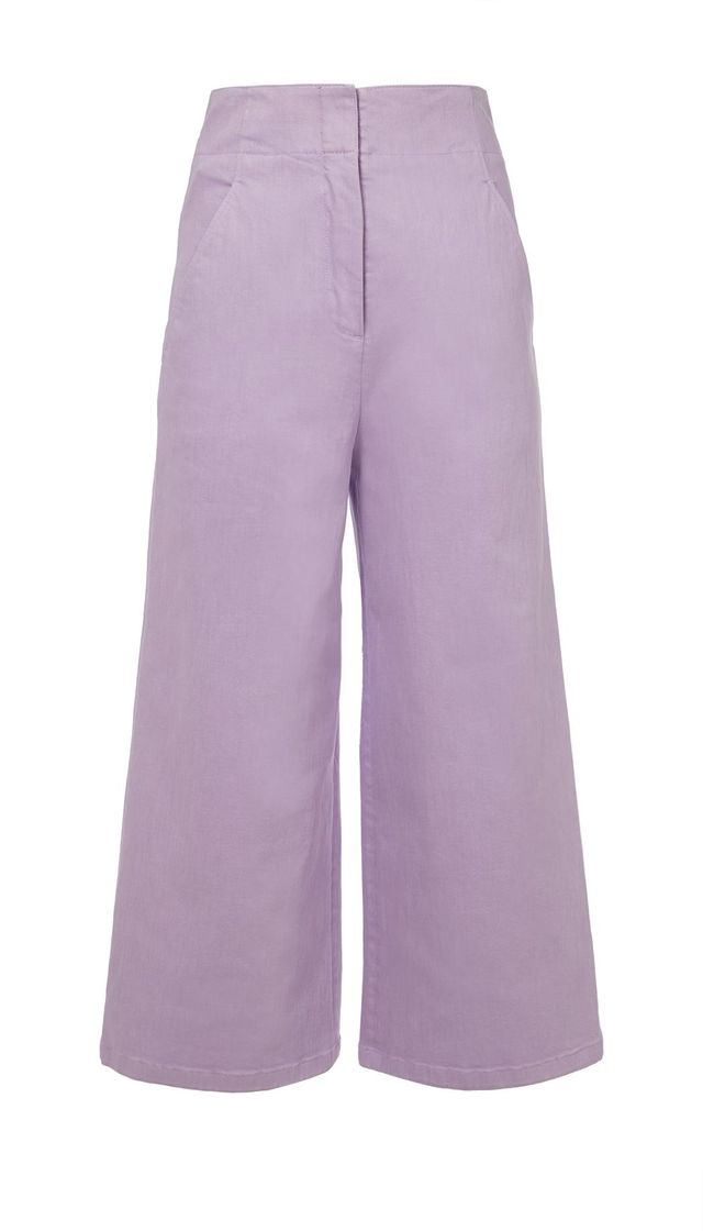 Garment Dyed Twill Cropped Wide-Leg Jean