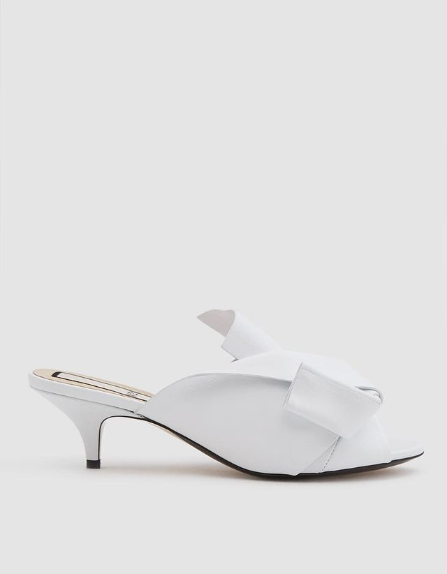 Heeled Bow Sandal in White