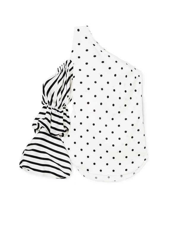 Poggio One-shoulder Printed Silk-blend Top