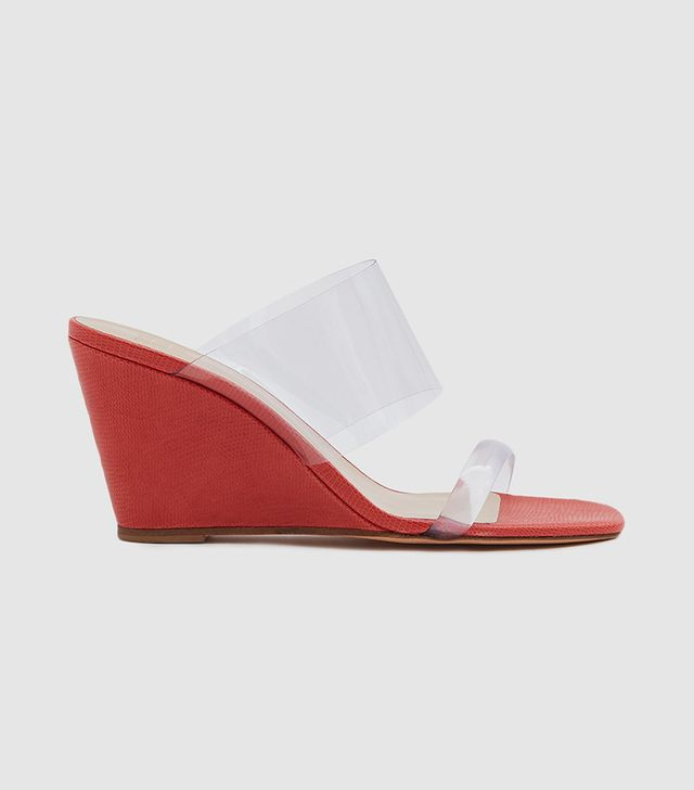 Olympia Wedge in Red Faux Lizard