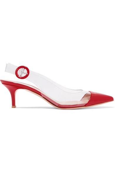 55 Pvc And Patent-leather Slingback Pumps