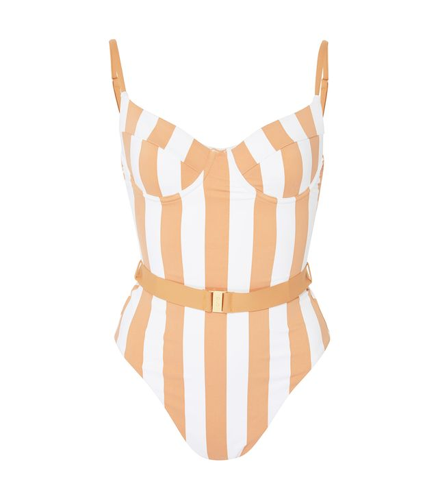 WeWoreWhat Danielle Belted Striped Swimsuit
