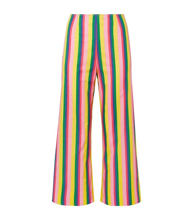 Maui Striped Stretch-Cotton Poplin Wide-Leg Pants