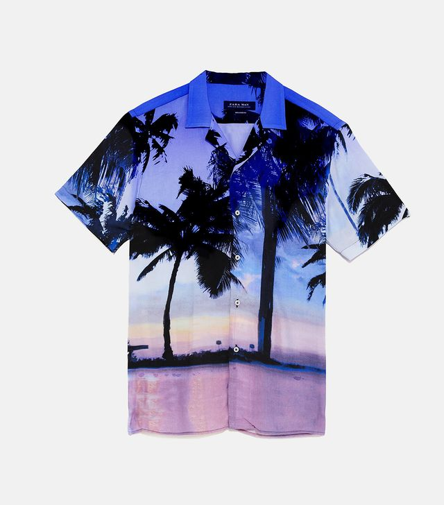 Zara Palm Tree Photo Shirt