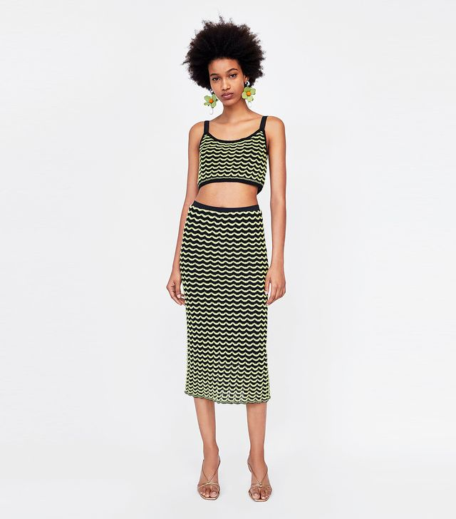 Zara Crop Top With Scalloped Trims