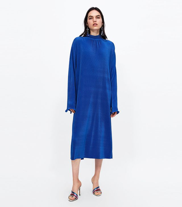 Zara Micro-Pleated Long Dress