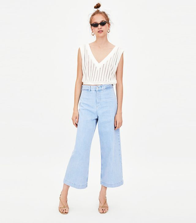 Zara Authentic Denim Wide-Leg High Rise Culotte Jeans