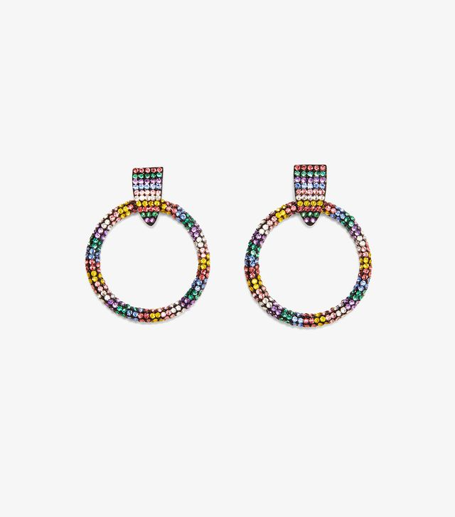 Zara Frontal Hoop Earrings With Rhinestones